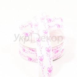 Лента репсовая сердечко-орнамент 2,5 см