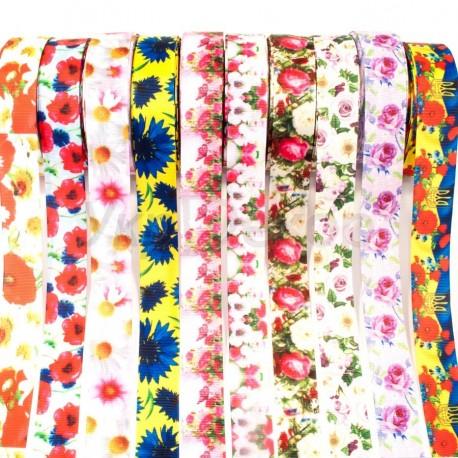 Лента репсовуая с цветочным рисунком 2,5 см.
