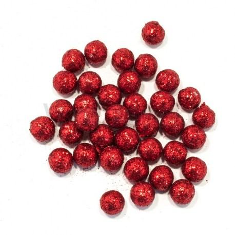Новогодние шарики с блестками ВР 1,0 см.