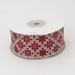 Лента репсовая с украинским орнаментом 4,0 см