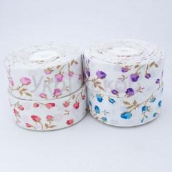 Лента репсовая с весенними цветами  4,0 см